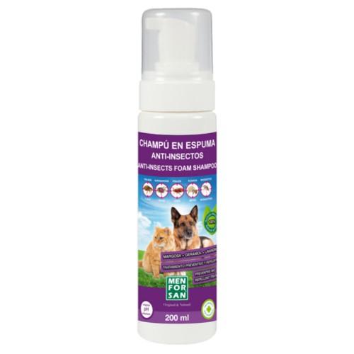 Menforsan champú en espuma anti insectos para perros y gatos