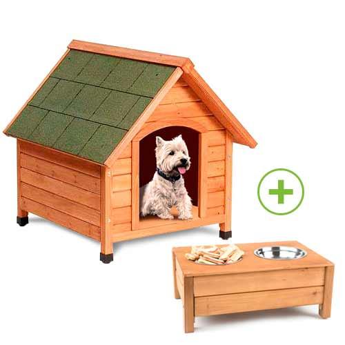 Pack caseta para perros Technical Pet Woof y comedero