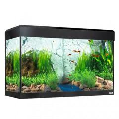 acuario de cristal fluval roma con pantalla led negro