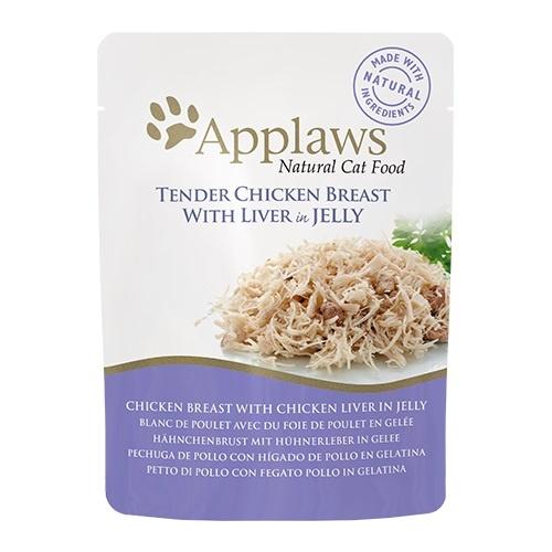 Comida húmeda para gatos Applaws Jelly Pouch pollo e hígado