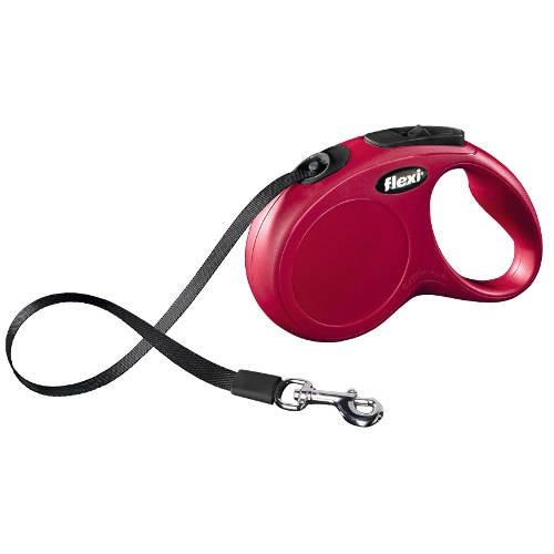 Flexi New Classic Compact correa extensible de cinta para perros Color Rojo