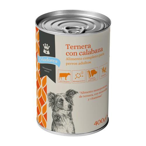 Alimento húmedo para perros Criadores ternera con calabaza 400 gr