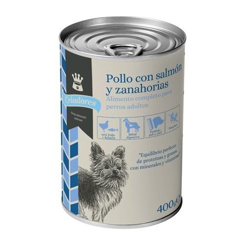 Alimento húmedo para perros Criadores pollo y salmón con zanahorias