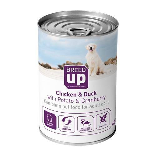 Alimento húmedo para perros Breed Up Adult pollo y pato con patatas y arándanos 400 gr