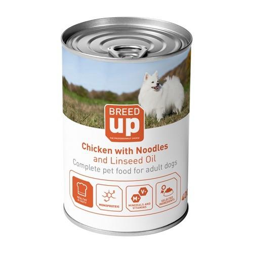 Alimento húmedo para perros Breed Up Adult pollo con fideos y aceite de linaza 400 gr