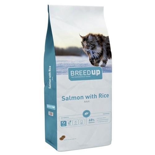 Pienso súperpremium para gatos Breed Up Adult Salmon con salmón