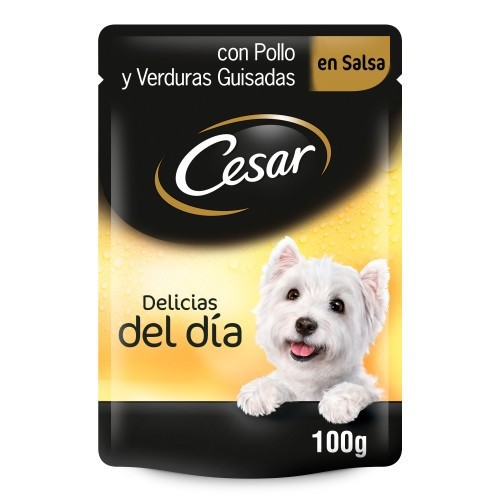 Alimento húmedo para perros Cesar Pouch Delicias en salsa con pollo