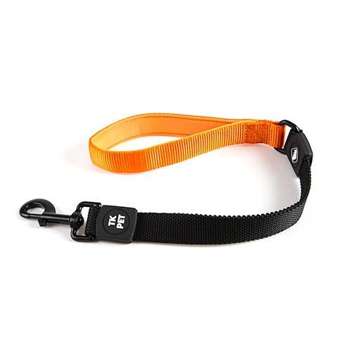 Correa corta para perros TK-Pet Shock Control naranja con asa de neopreno