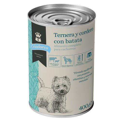 Comida húmeda para cachorros Criadores de ternera y cordero con batata