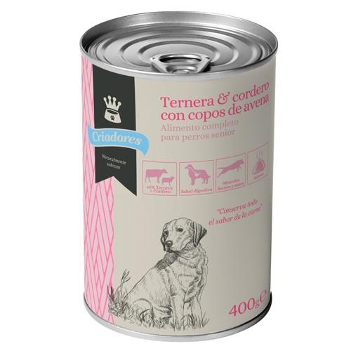 Comida húmeda para perros senior Criadores de ternera y cordero con avena