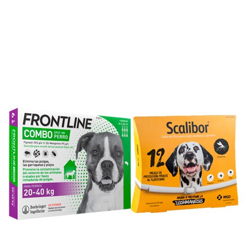 Pack antiparasitario protección total para perros grandes: Scalibor y Frontline