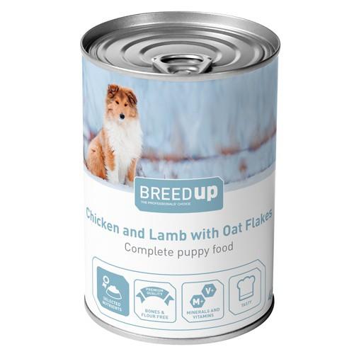 Comida húmeda para perros Breed Up Puppy de pollo y cordero con avena