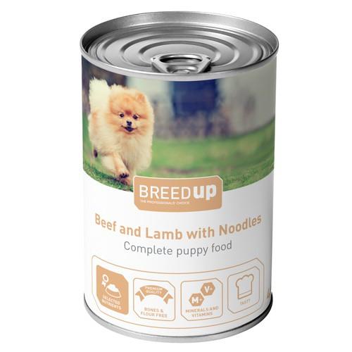 Comida húmeda para perros Breed Up Puppy de ternera y cordero con fideos
