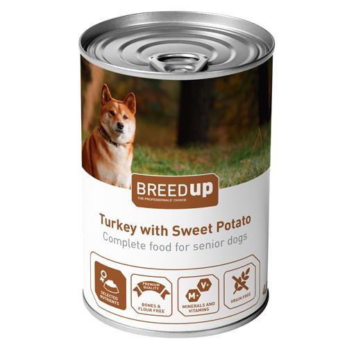 Comida húmeda para perros Breed Up Senior de pavo con batata