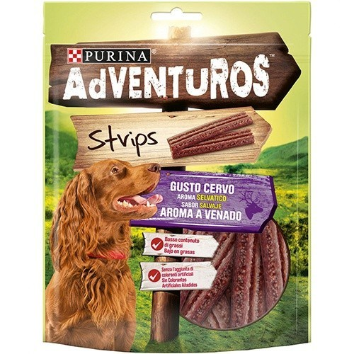 Snacks Purina Adventuros Strips tiras con aroma a Venado