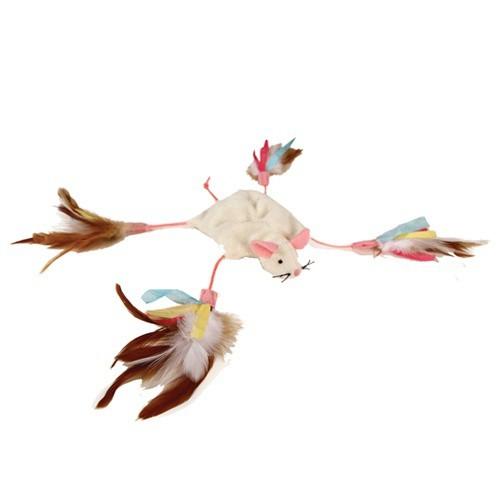 Ratón de peluche con plumas para gatos