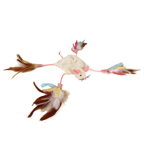Mouse stuffed with feathers for cats