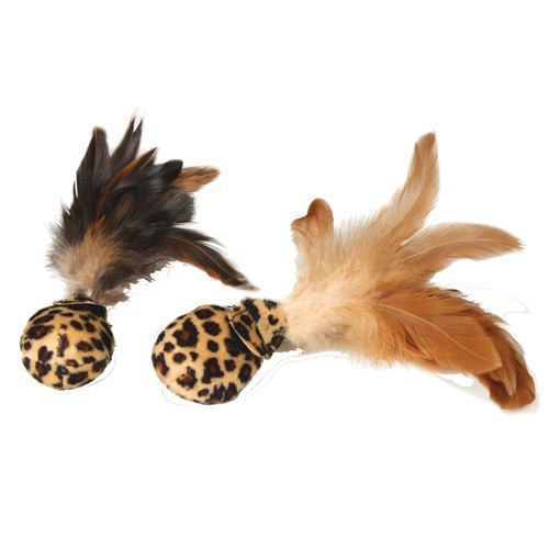 Soft balls with feathers for cats