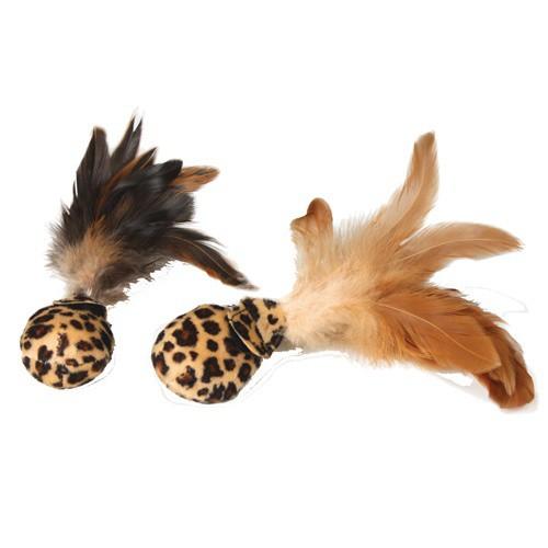 Pelotas suaves con plumas para gatos