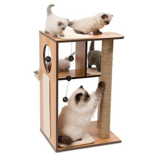 Mueble rascador grande para gatos V-Box Vesper nogal