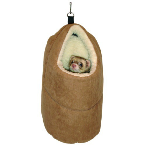 Suede hanging house with inner lining for ferrets
