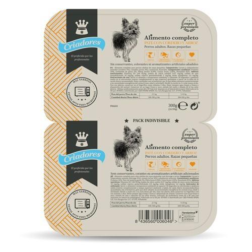 Criadores paté con cordero y arroz para perros de razas pequeñas