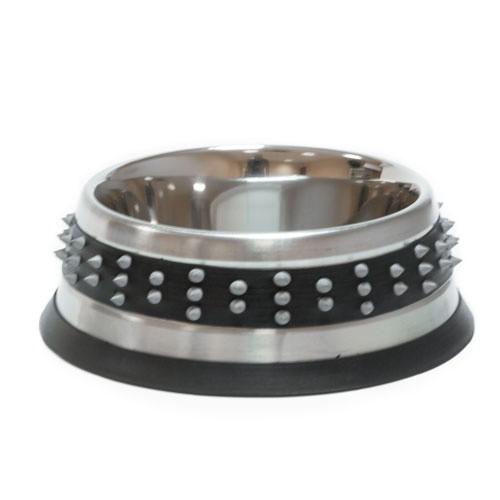 Comedero metálico TK-Pet de diseño Rock negro