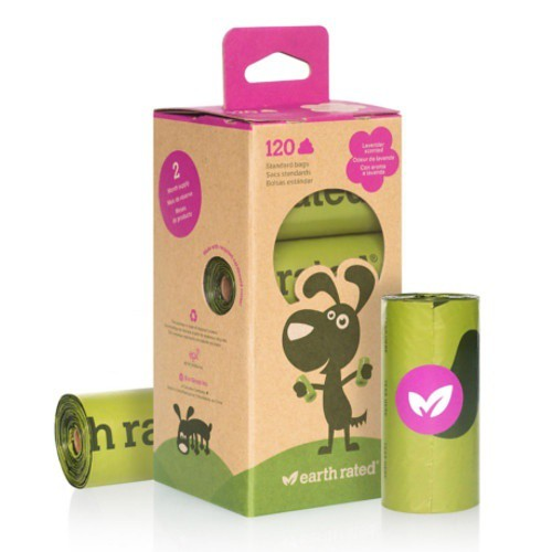 Rollos de bolsas biodegradables con aroma a lavanda Earth Rated