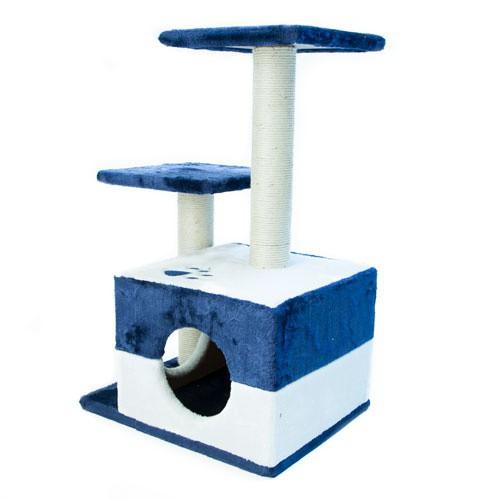 Rascador con refugio y plataformas TK-Pet Corvus azul