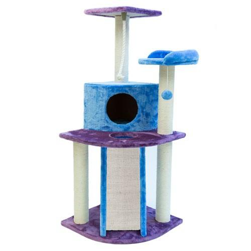 Rascador con refugio y juguetes colgantes TK-Pet Tucana