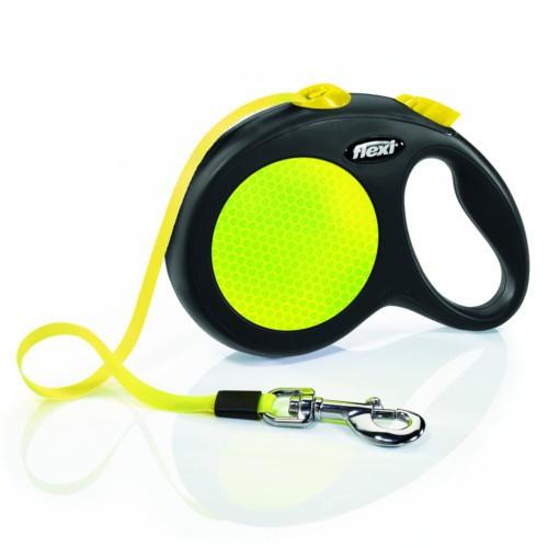 Flexi New Neon correa extensible de cinta amarilla