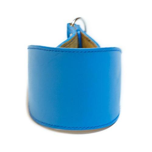 Collar de cuero para galgos Clásico azul