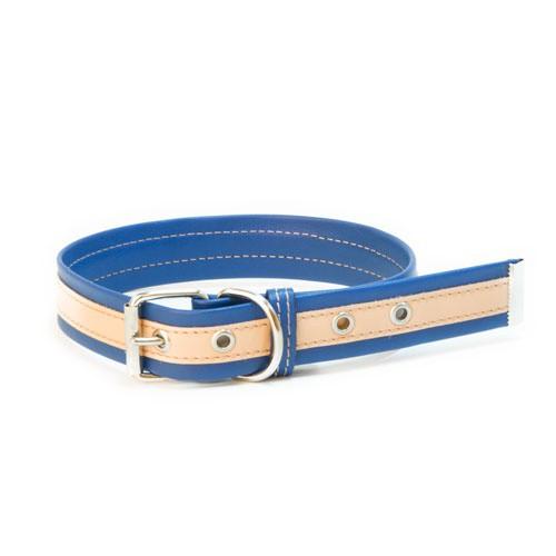 Collar de cuero TK-Pet Luxe bicolor azul