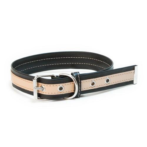 Collar de cuero TK-Pet Luxe bicolor negro