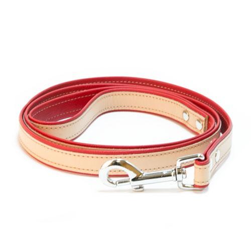 Correa de cuero TK-Pet Luxe bicolor rojo