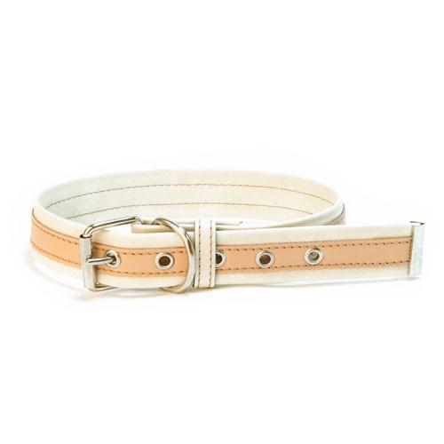 Collar de cuero TK-Pet Luxe bicolor beige
