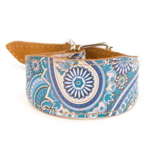 Collar de piel para lebrel TK-Pet Paisley azul