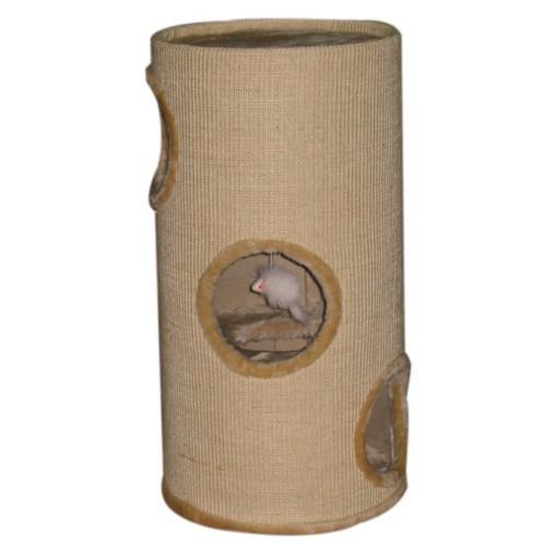 Torre rascador con huecos para gatos beige