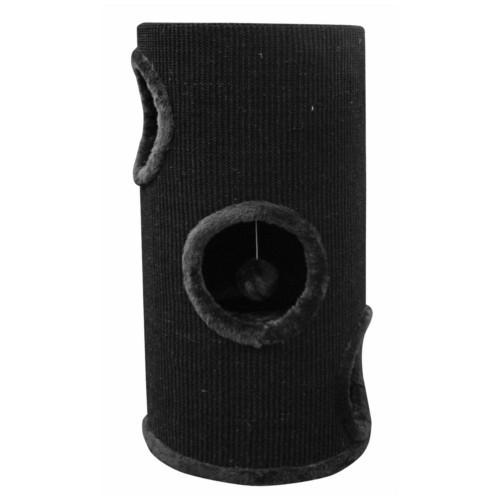 Torre rascador con huecos para gatos negra