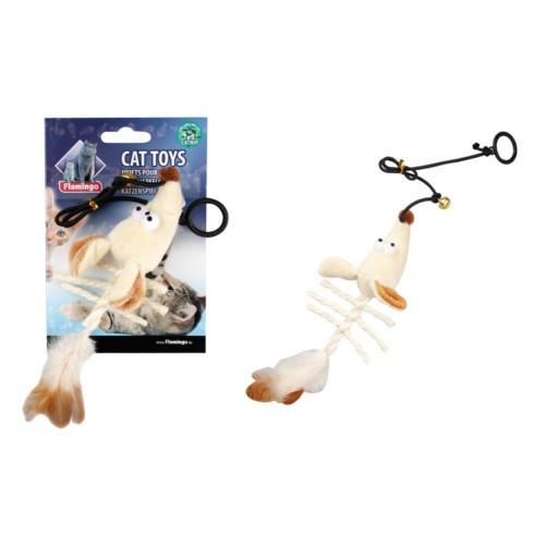 Caña con esqueleto de ratón de peluche