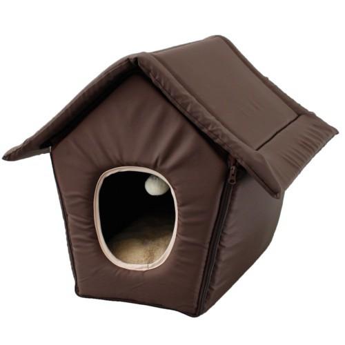 Casa plegable para gatos marrón
