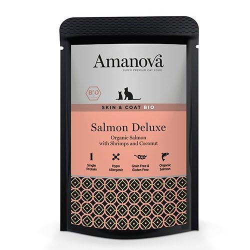 Amanova Bio bolsita húmeda con salmón para gatos