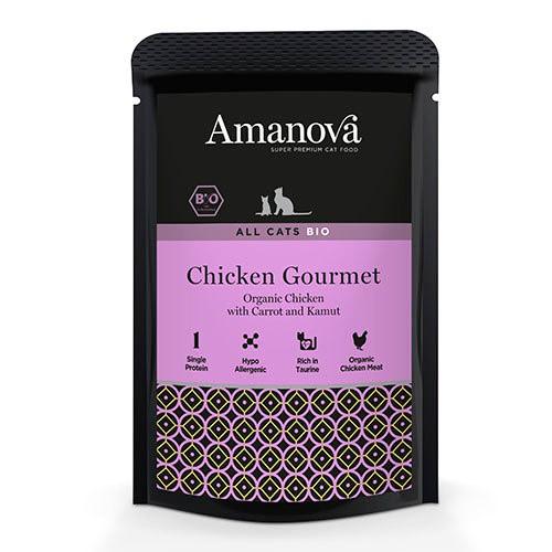 Amanova Bio bolsita húmeda con pollo para gatos