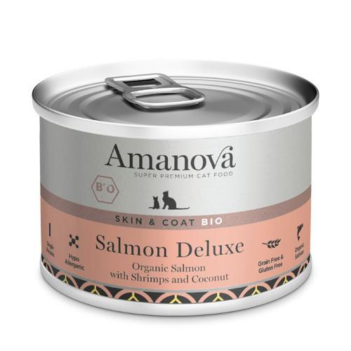 Amanova Bio lata de húmedo con salmón para gatos
