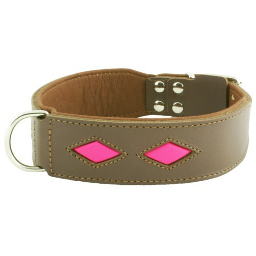 Collar de cuero Royal Diamond marrón