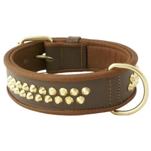 Collar de cuero con tachuelas Urban marrón