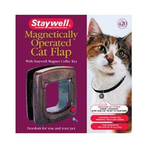 Puerta para gatos Staywell magnética marrón