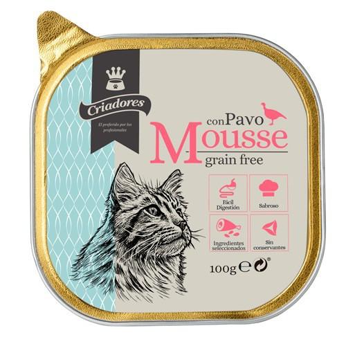 Criadores Mousse grain free con pavo para gatos