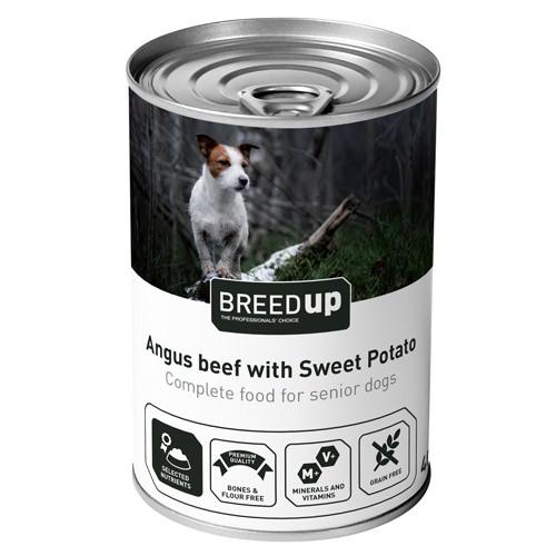Comida húmeda Breed Up ternera con batata para perros senior