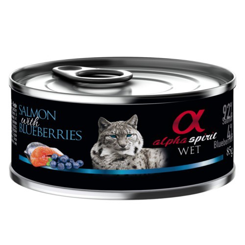 Alpha Spirit húmedo salmón con arándanos para gatos